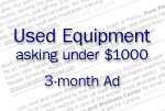 Ad for used equipment, asking < $1000